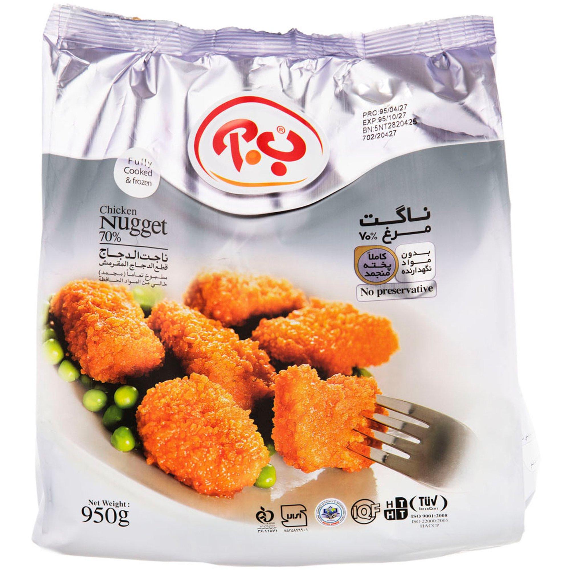 ناگت مرغ ۷۰% کاملا پخته ب.آ ۹۵۰ گرمی