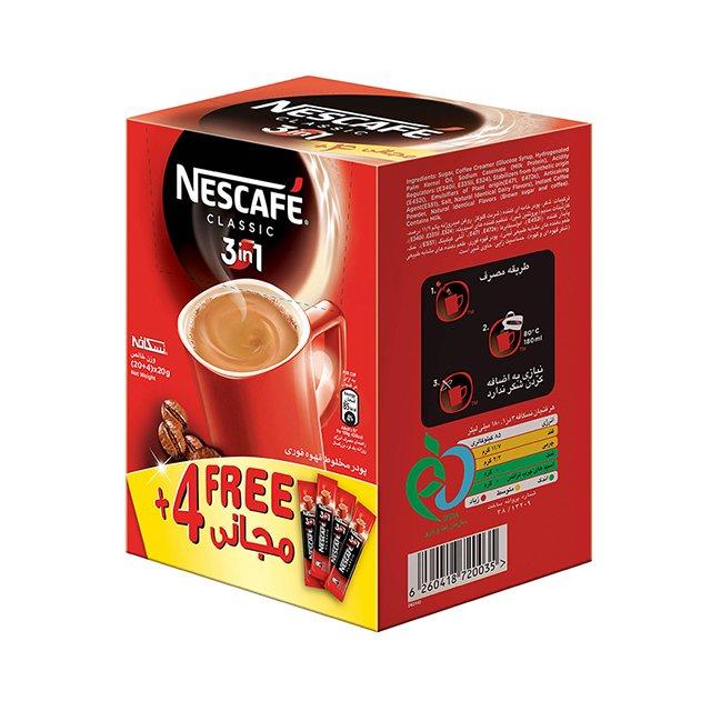 قهوه فوری نسکافه ۳ در ۱ کلاسیک نستله ۲۰+۴ عددی