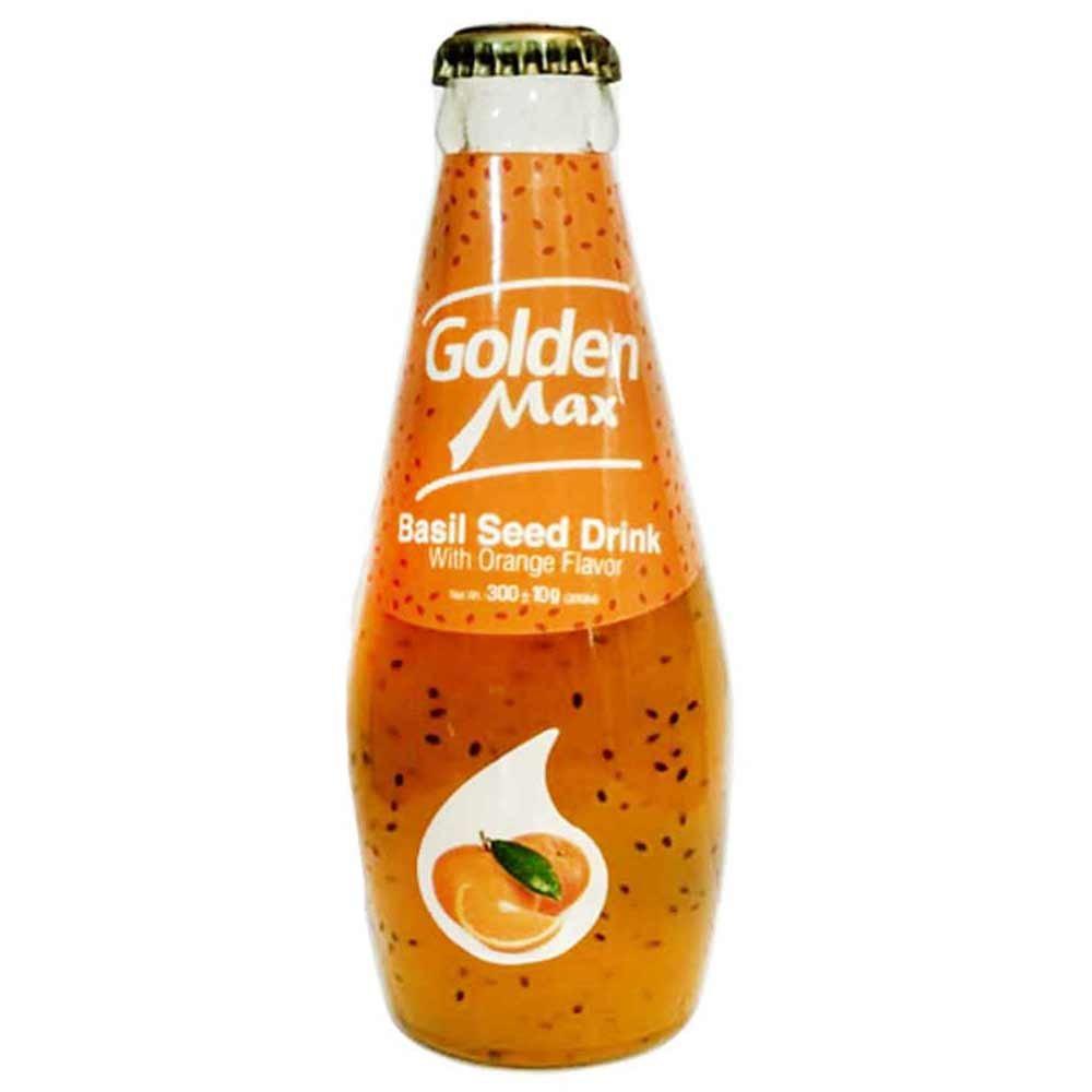 نوشیدنی تخم شربتی باطعم پرتقال گلدن مکس 300 میلی لیتری