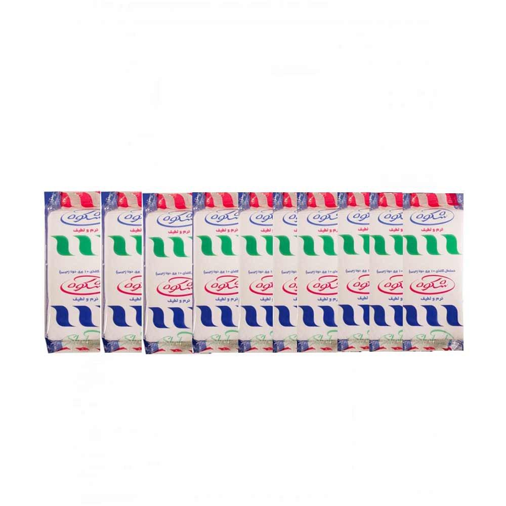 دستمال کاغذی جیبی 10 برگی 10 عددی شکوه
