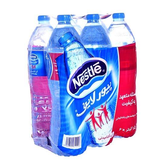 بسته ۶ عددی آب معدنی پیورلایف نستله ۱.۵ لیتری