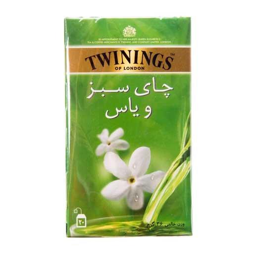 چای کیسه ای سبز و یاس توینینگز ۲۰ عددی