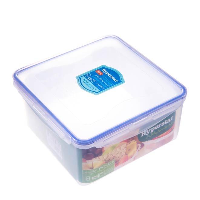 ظرف پلاستیکی قفل دار مربعی هایپراستار ۳.۴ لیتری
